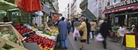 """Group Of People In A Street Market, Rue De Levy, Paris, France by Panoramic Images - 27"""" x 9"""" - $28.99"""