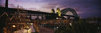"Bridge lit up at night, Sydney Harbor Bridge, Sydney, New South Wales, Australia by Panoramic Images - 27"" x 9"""