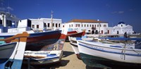 "Rowboats on a harbor, Mykonos, Greece by Panoramic Images - 27"" x 10"""