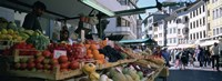 """Group of people in a street market, Lake Garda, Italy by Panoramic Images - 27"""" x 9"""""""