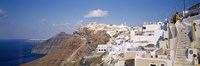 """City on a cliff, Santorini, Cyclades Islands, Greece by Panoramic Images - 27"""" x 9"""""""