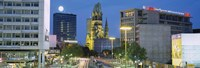 """Buildings Lit Up At Night, Berlin, Germany by Panoramic Images - 27"""" x 9"""""""