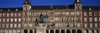 """Statue In Front Of A Building, Plaza Mayor, Madrid, Spain by Panoramic Images - 27"""" x 9"""""""