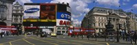 """Commercial signs on buildings, Piccadilly Circus, London, England by Panoramic Images - 27"""" x 9"""""""