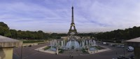 """Fountain in front of a tower, Eiffel Tower, Paris, France by Panoramic Images - 27"""" x 9"""", FulcrumGallery.com brand"""