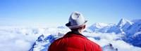 Man Contemplating Swiss Alps, Switzerland Fine Art Print