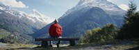 Hiker Contemplating Mountains Switzerland