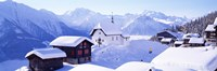 """Snow Covered Chapel and Chalets Swiss Alps Switzerland by Panoramic Images - 27"""" x 9"""""""
