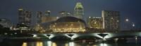 "Buildings lit up at night, Esplanade Bridge, Esplanade Drive, Singapore by Panoramic Images - 27"" x 9"", FulcrumGallery.com brand"