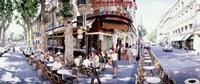 """Group of people at a sidewalk cafe, Paris, France by Panoramic Images - 27"""" x 9"""", FulcrumGallery.com brand"""