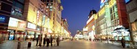 "Shops lit up at dusk, Wangfujing, Beijing, China by Panoramic Images - 27"" x 9"""