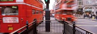 """Double-Decker buses on the road, Oxford Circus, London, England by Panoramic Images - 27"""" x 9"""""""
