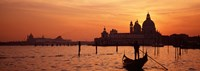 """Silhouette of a person on a gondola with a church in background, Santa Maria Della Salute, Grand Canal, Venice, Italy by Panoramic Images - 27"""" x 9"""""""