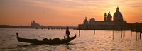 """Silhouette of a gondola in a canal at sunset, Santa Maria Della Salute, Venice, Italy by Panoramic Images - 27"""" x 9"""", FulcrumGallery.com brand"""