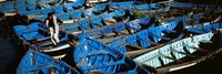 """High angle view of boats docked at a port, Essaouira, Morocco by Panoramic Images - 27"""" x 9"""""""