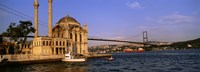 """Mosque at the waterfront near a bridge, Ortakoy Mosque, Bosphorus Bridge, Istanbul, Turkey by Panoramic Images - 27"""" x 9"""""""