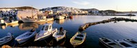 """Boats at the dock in the sea, Paros, Cyclades Islands, Greece by Panoramic Images - 27"""" x 9"""""""
