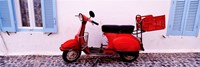 """Motor scooter parked in front of a building, Santorini, Cyclades Islands, Greece by Panoramic Images - 27"""" x 9"""""""
