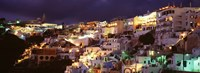 """Town at night, Santorini, Greece by Panoramic Images - 27"""" x 9"""""""