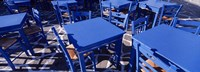"""High angle view of tables and chairs at a sidewalk cafe, Paros, Cyclades Islands, Greece by Panoramic Images - 27"""" x 9"""""""