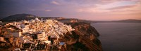 """Aerial view of town, Santorini, Greece by Panoramic Images - 27"""" x 9"""""""