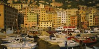 """Boats at the harbor, Camogli, Liguria, Italy by Panoramic Images - 27"""" x 9"""""""