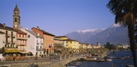 """Buildings at the waterfront, Lake Maggiore, Ascona, Switzerland by Panoramic Images - 27"""" x 9"""""""