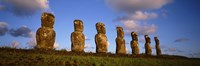 Low angle view of statues in a row, Moai Statue, Easter Island, Chile Fine Art Print