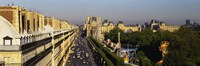 """High angle view of vehicles on the road, Musee du Louvre, Royal Street, Paris, France by Panoramic Images - 27"""" x 9"""""""