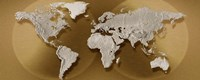 """Close-up of a World Map (gold) by Panoramic Images - 27"""" x 11"""""""
