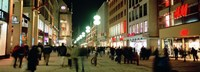 """Buildings in a city lit up at night, Munich, Germany by Panoramic Images - 27"""" x 9"""", FulcrumGallery.com brand"""