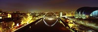 "Reflection Of A Bridge On Water, Millennium Bridge, Newcastle, Northumberland, England, United Kingdom by Panoramic Images - 27"" x 9"""