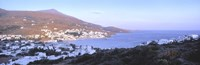 """High angle view of buildings on the waterfront, Batsi, Andros Island, Cyclades Islands, Greece by Panoramic Images - 27"""" x 9"""", FulcrumGallery.com brand"""