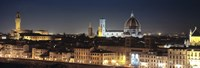 """Buildings lit up at night, Florence, Tuscany, Italy by Panoramic Images - 27"""" x 9"""", FulcrumGallery.com brand"""