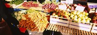 """High angle view of fruits and vegetables in a vegetable stand, Stuttgart, Germany by Panoramic Images - 27"""" x 9"""""""