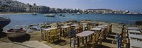 """Tables and chairs in a cafe, Greece by Panoramic Images - 27"""" x 9"""""""