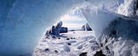 Ice cave on a polar landscape, Gigja outwash plain, Gigja river outlet, Iceland Fine Art Print