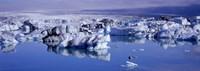 "Glaciers floating on water, Jokulsa River, Breidamerkursandur, Jokulsarlon Glacial Lagoon, Vatnajokull, Iceland by Panoramic Images - 27"" x 9"", FulcrumGallery.com brand"