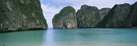 "Rock formations in the ocean, Mahya Beach, Ko Phi Phi Lee, Phi Phi Islands, Thailand by Panoramic Images - 27"" x 9"""