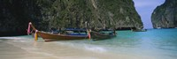 "Longtail boats moored on the beach, Ton Sai Beach, Ko Phi Phi Don, Phi Phi Islands, Thailand by Panoramic Images - 27"" x 9"""