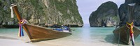 Longtail boats moored on the beach, Mahya Beach, Ko Phi Phi Lee, Phi Phi Islands, Thailand Fine Art Print