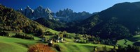 "Buildings on a landscape, Dolomites, Funes Valley, Le Odle, Santa Maddalena, Tyrol, Italy by Panoramic Images - 27"" x 9"""