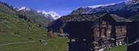 "Log cabins on a landscape, Matterhorn, Valais, Switzerland by Panoramic Images - 27"" x 9"""