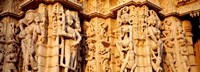 Sculptures carved on a wall of a temple, Jain Temple, Ranakpur, Rajasthan, India Fine Art Print