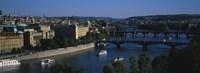 "High angle view of bridges across a river, Charles Bridge, Vltava River, Prague, Czech Republic by Panoramic Images - 27"" x 9"""