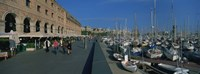 "Pedestrian walkway along a harbor, Barcelona, Catalonia, Spain by Panoramic Images - 27"" x 9"" - $28.99"