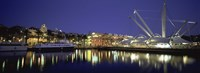 """Reflection of buildings in water, The Bigo, Porto Antico, Genoa, Italy by Panoramic Images - 27"""" x 9"""""""