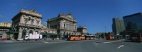 """Bus parked in front of a railroad station, Brignole Railway Station, Piazza Giuseppe Verdi, Genoa, Italy by Panoramic Images - 27"""" x 9"""", FulcrumGallery.com brand"""