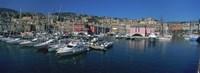 "Boats at a harbor, Porto Antico, Genoa, Italy by Panoramic Images - 27"" x 9"""
