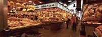 """Group of people in a vegetable market, La Boqueria Market, Barcelona, Catalonia, Spain by Panoramic Images - 27"""" x 9"""" - $28.99"""